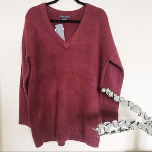 NWT French Connection Cherry Wine V Neck Jumper
